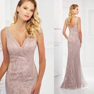Montage Elegant ribbon scoop back gown